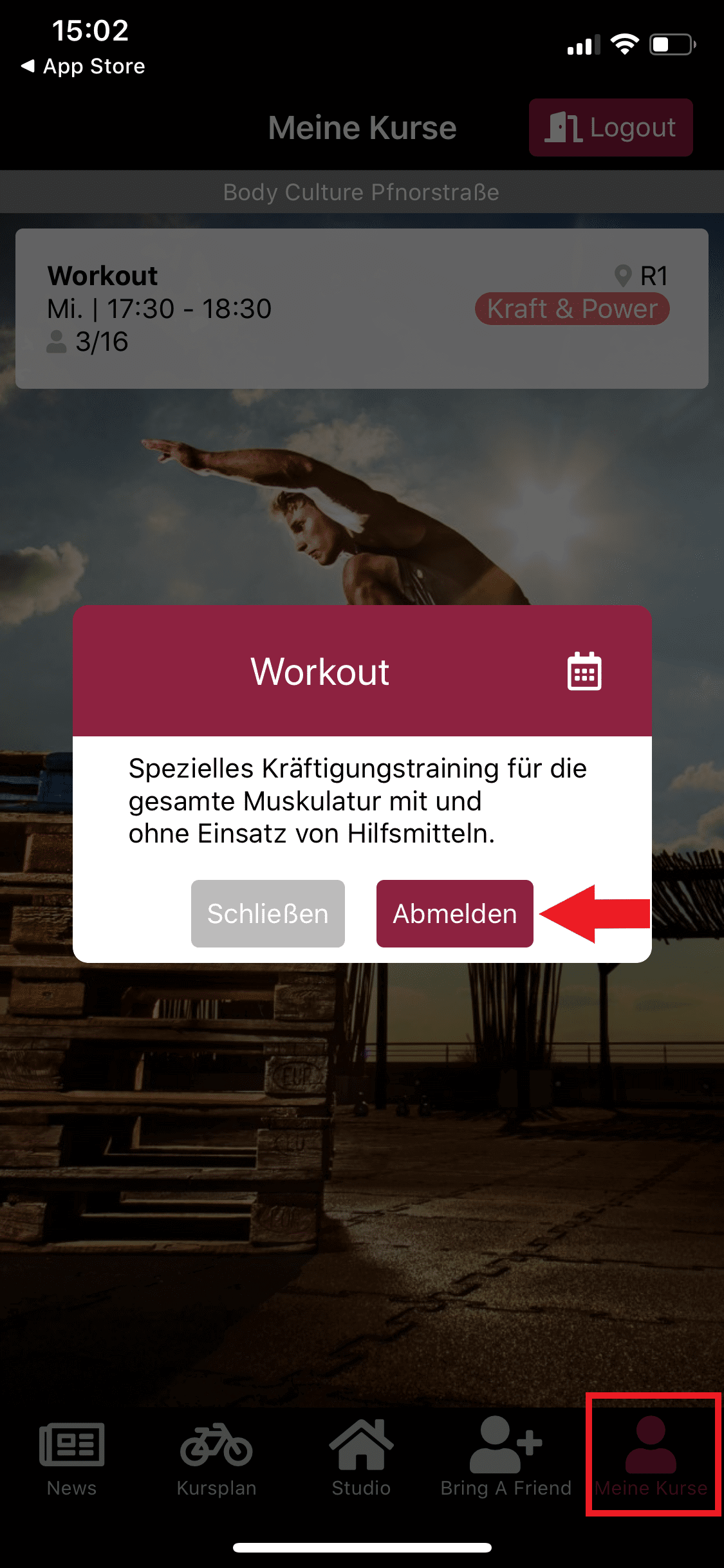 Vom Workout Kurs abmelden
