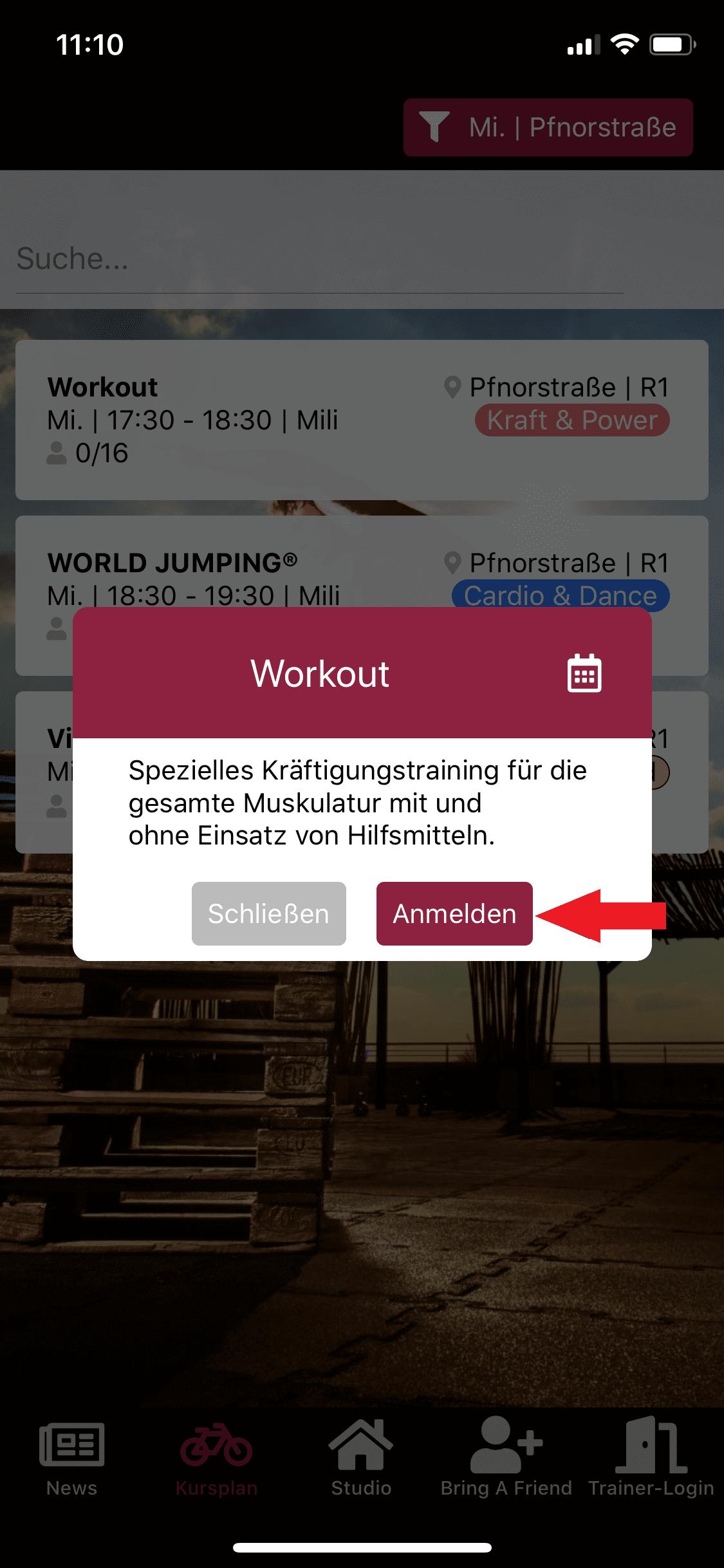 Anmeldung zum Workout Kurs